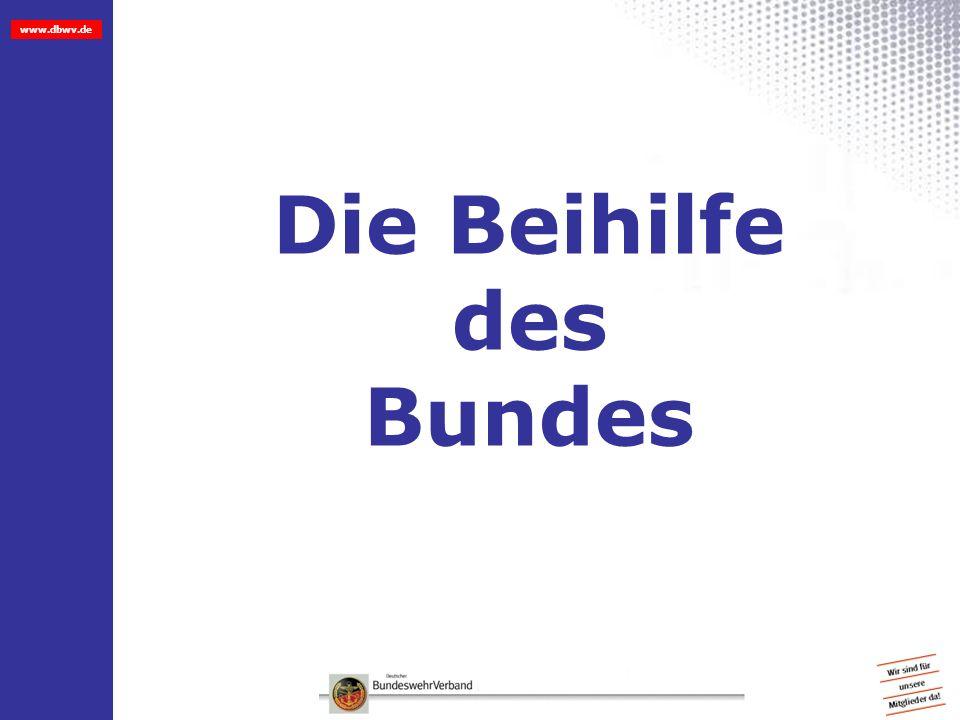 www.dbwv.de Beispiel Einkommen des Vorjahres: VE 26.000, Ehefrau 14.000 Rente = Einkommen beider Ehepartner 40.000 Abzüglich 15%,da verh.