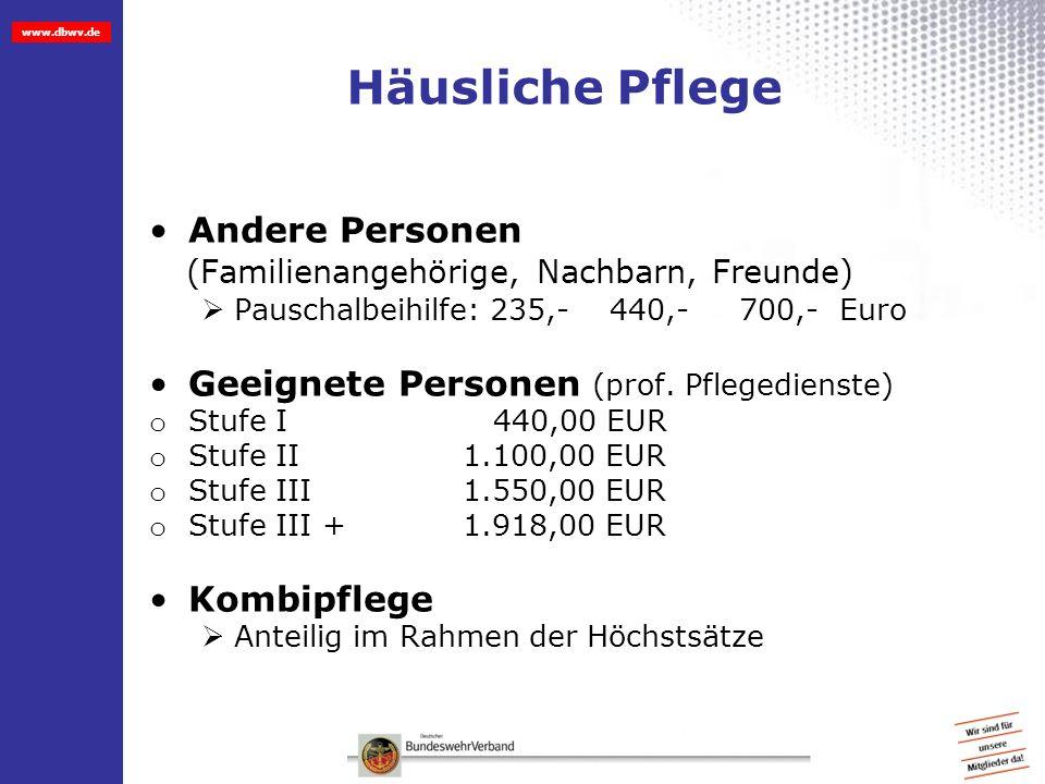 www.dbwv.de Häusliche Pflege Andere Personen (Familienangehörige, Nachbarn, Freunde) Pauschalbeihilfe: 235,- 440,- 700,- Euro Geeignete Personen (prof