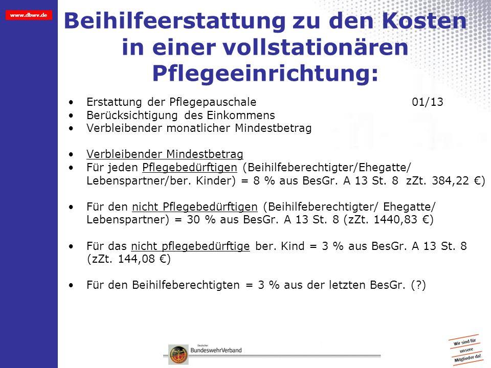 www.dbwv.de Beihilfeerstattung zu den Kosten in einer vollstationären Pflegeeinrichtung: Erstattung der Pflegepauschale01/13 Berücksichtigung des Eink