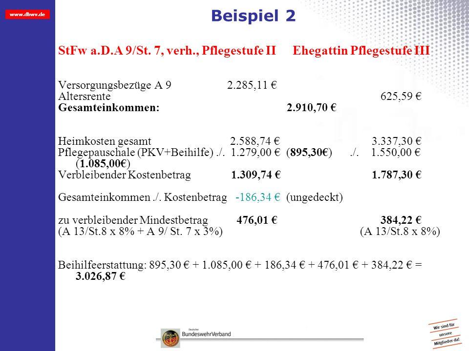 www.dbwv.de Beispiel 2 StFw a.D.A 9/St. 7, verh., Pflegestufe II Ehegattin Pflegestufe III Versorgungsbezüge A 9 2.285,11 Altersrente 625,59 Gesamtein