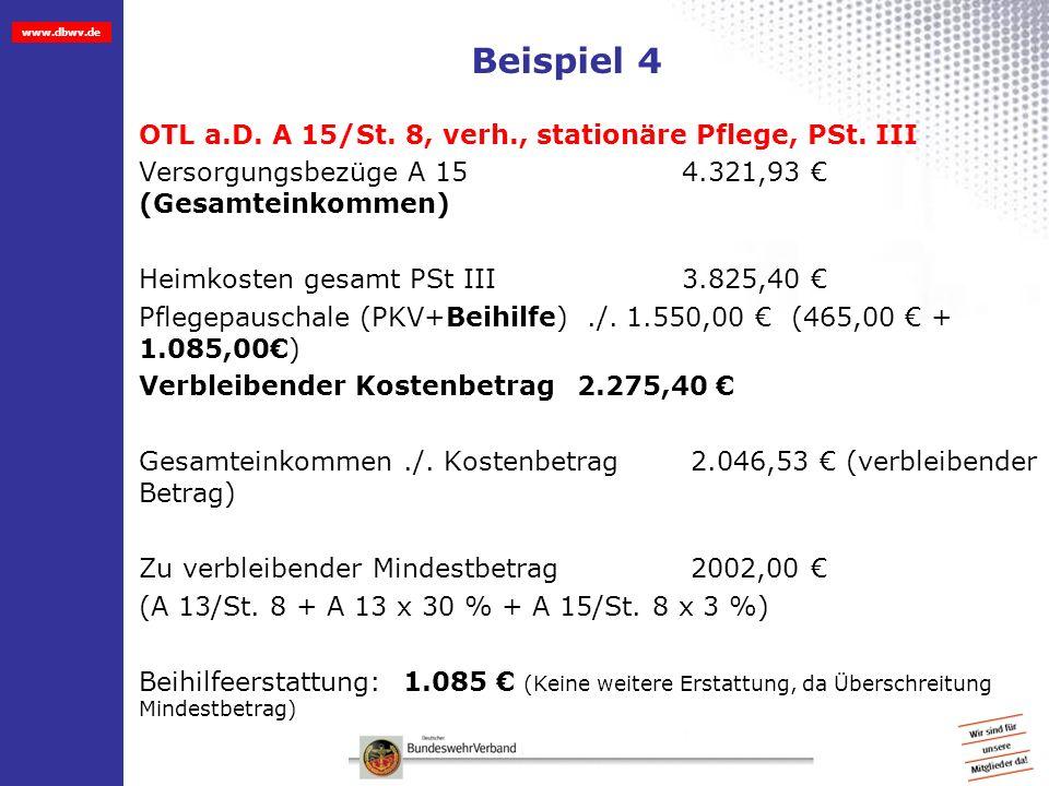 www.dbwv.de Beispiel 4 OTL a.D. A 15/St. 8, verh., stationäre Pflege, PSt. III Versorgungsbezüge A 15 4.321,93 (Gesamteinkommen) Heimkosten gesamt PSt