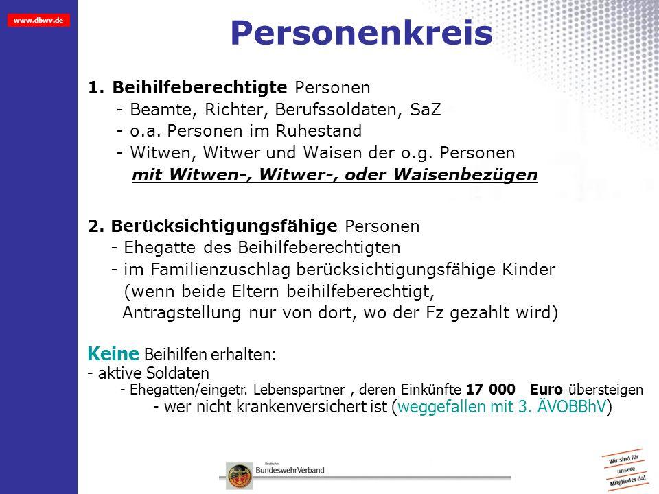 www.dbwv.de Bemessung der Beihilfe Aktive = 50% (Ab 2 Kinder im Familienzuschlag, dann 70 %) Versorgungsempfänger/Ehegatte = 70% Kinder = 80%