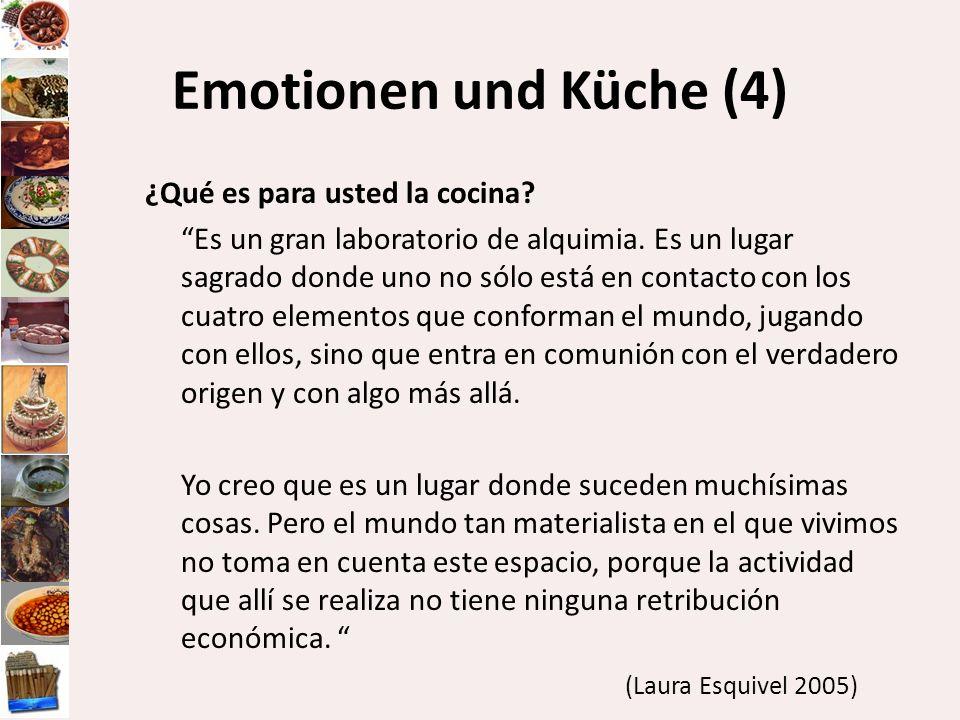 Emotionen und Küche (4) ¿Qué es para usted la cocina? Es un gran laboratorio de alquimia. Es un lugar sagrado donde uno no sólo está en contacto con l