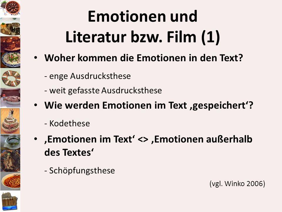 Emotionen und Literatur bzw. Film (1) Woher kommen die Emotionen in den Text? - enge Ausdrucksthese - weit gefasste Ausdrucksthese Wie werden Emotione