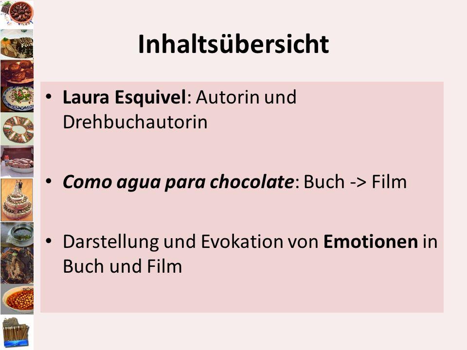 Inhaltsübersicht Laura Esquivel: Autorin und Drehbuchautorin Como agua para chocolate: Buch -> Film Darstellung und Evokation von Emotionen in Buch un