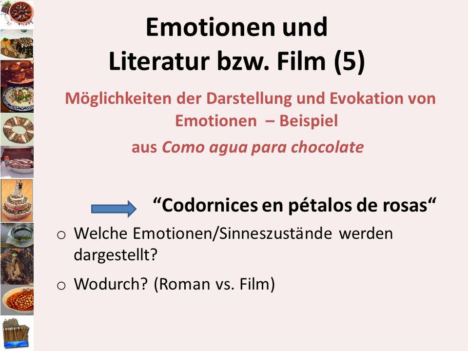 Emotionen und Literatur bzw. Film (5) Möglichkeiten der Darstellung und Evokation von Emotionen – Beispiel aus Como agua para chocolate Codornices en