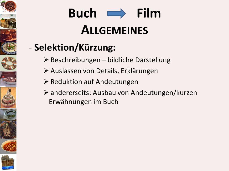 BuchFilm A LLGEMEINES - Selektion/Kürzung: Beschreibungen – bildliche Darstellung Auslassen von Details, Erklärungen Reduktion auf Andeutungen anderer