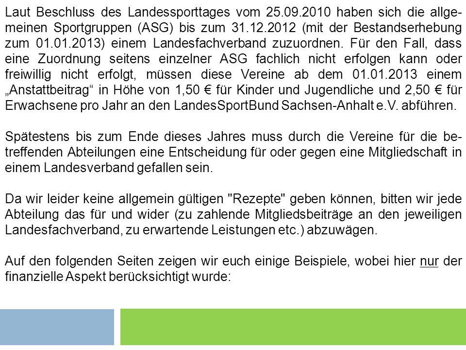 Laut Beschluss des Landessporttages vom 25.09.2010 haben sich die allge- meinen Sportgruppen (ASG) bis zum 31.12.2012 (mit der Bestandserhebung zum 01