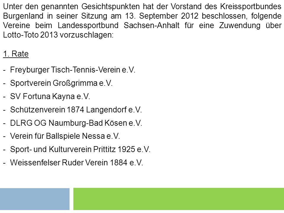 Grundsätzliches 2 Unter den genannten Gesichtspunkten hat der Vorstand des Kreissportbundes Burgenland in seiner Sitzung am 13. September 2012 beschlo