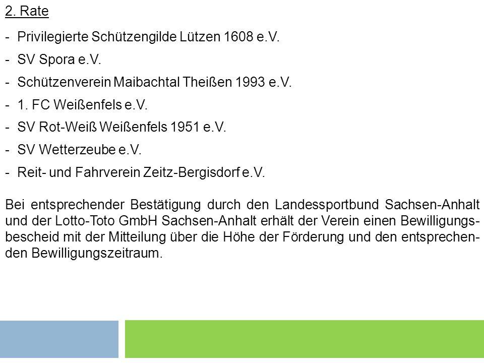 Grundsätzliches 2 2. Rate - Privilegierte Schützengilde Lützen 1608 e.V. - SV Spora e.V. - Schützenverein Maibachtal Theißen 1993 e.V. - 1. FC Weißenf