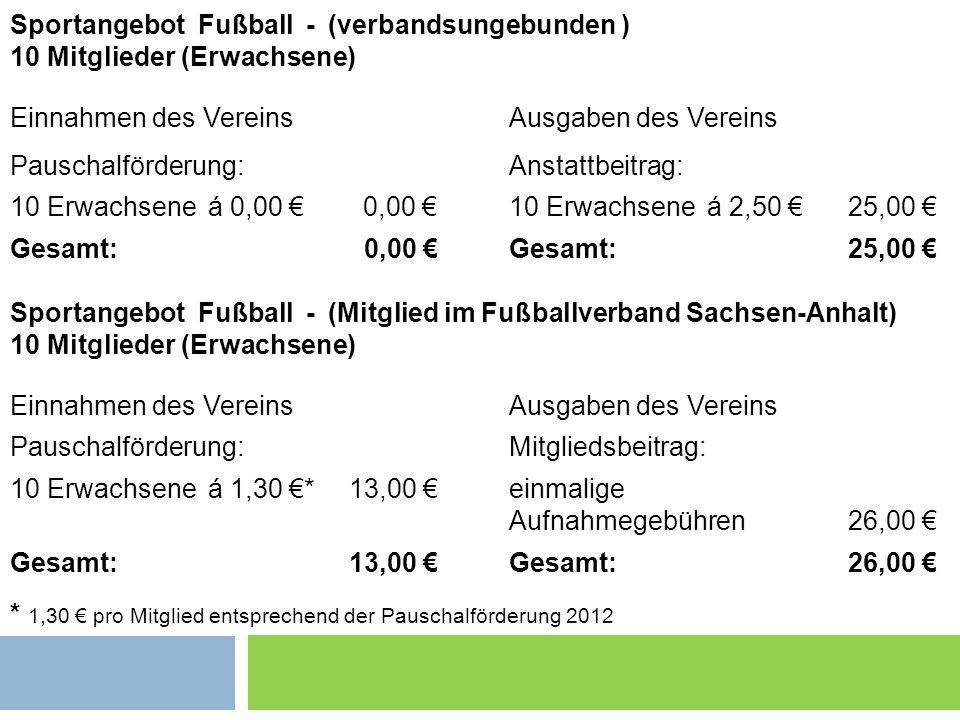 Sportangebot Fußball - (verbandsungebunden ) 10 Mitglieder (Erwachsene) Einnahmen des VereinsAusgaben des Vereins Pauschalförderung:Anstattbeitrag: 10