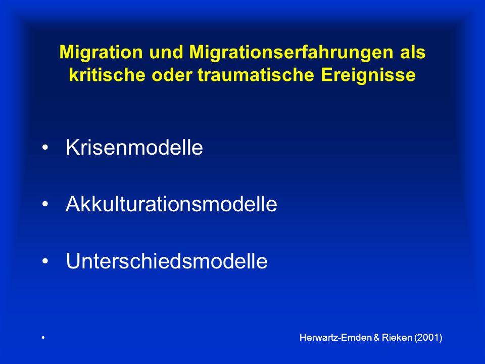 Migration und Migrationserfahrungen als kritische oder traumatische Ereignisse Krisenmodelle Akkulturationsmodelle Unterschiedsmodelle Herwartz-Emden & Rieken (2001)