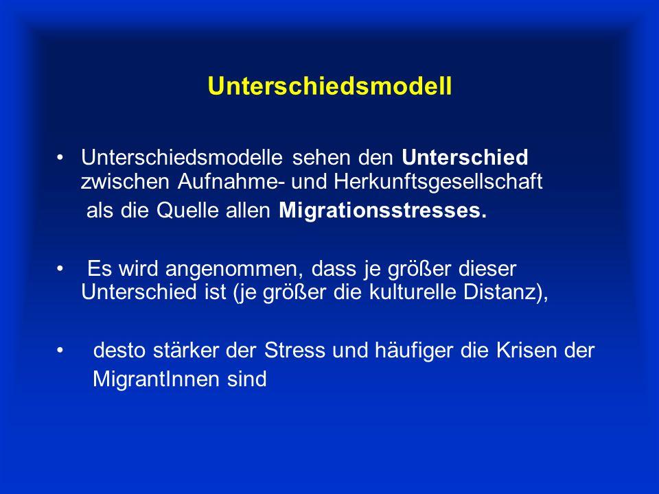 Unterschiedsmodell Unterschiedsmodelle sehen den Unterschied zwischen Aufnahme- und Herkunftsgesellschaft als die Quelle allen Migrationsstresses.
