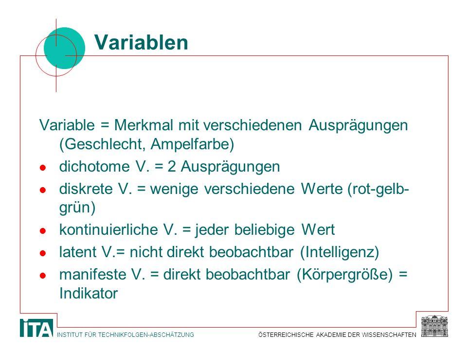 ÖSTERREICHISCHE AKADEMIE DER WISSENSCHAFTENINSTITUT FÜR TECHNIKFOLGEN-ABSCHÄTZUNG Variablen Variable = Merkmal mit verschiedenen Ausprägungen (Geschle