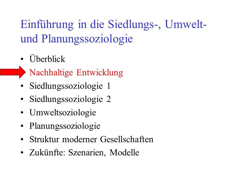 Einführung in die Siedlungs-, Umwelt- und Planungssoziologie Überblick Nachhaltige Entwicklung Siedlungssoziologie 1 Siedlungssoziologie 2 Umweltsoziologie Planungssoziologie Struktur moderner Gesellschaften Zukünfte: Szenarien, Modelle