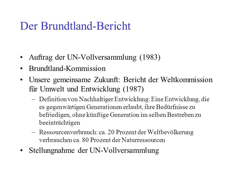 Der Brundtland-Bericht Auftrag der UN-Vollversammlung (1983) Brundtland-Kommission Unsere gemeinsame Zukunft: Bericht der Weltkommission für Umwelt und Entwicklung (1987) –Definition von Nachhaltiger Entwicklung: Eine Entwicklung, die es gegenwärtigen Generationen erlaubt, ihre Bedürfnisse zu befriedigen, ohne künftige Generation im selben Bestreben zu beeinträchtigen –Ressourcenverbrauch: ca.