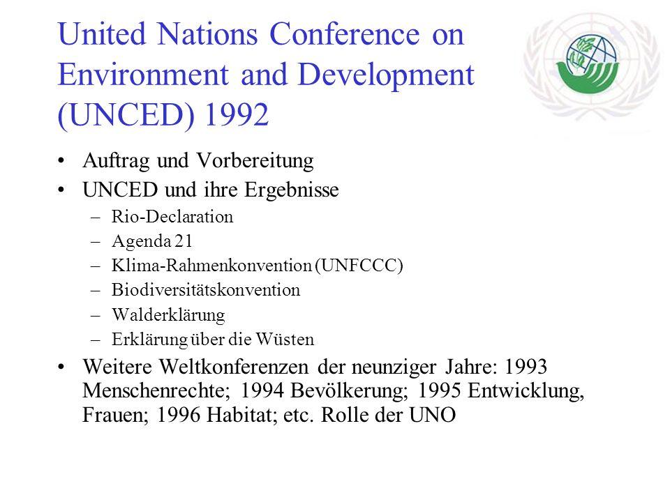 United Nations Conference on Environment and Development (UNCED) 1992 Auftrag und Vorbereitung UNCED und ihre Ergebnisse –Rio-Declaration –Agenda 21 –