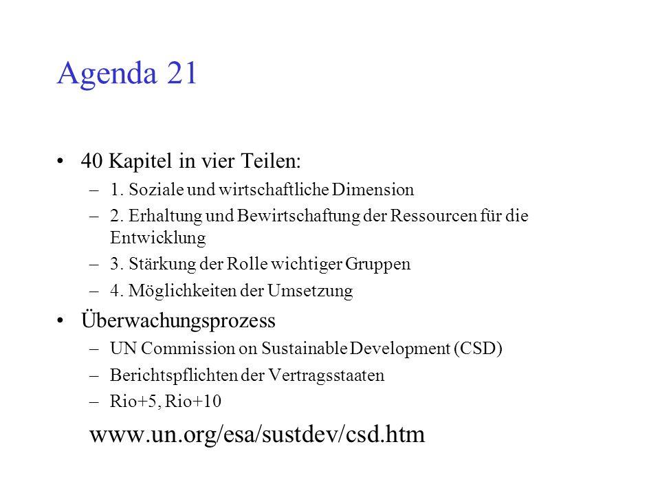 Agenda 21 40 Kapitel in vier Teilen: –1. Soziale und wirtschaftliche Dimension –2. Erhaltung und Bewirtschaftung der Ressourcen für die Entwicklung –3
