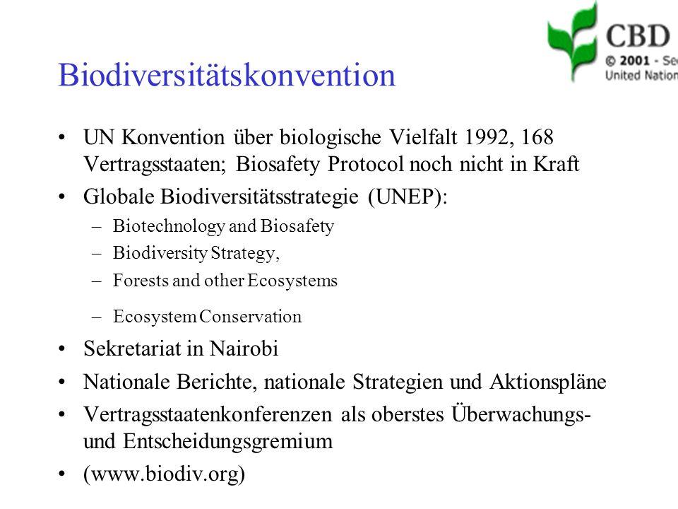 Biodiversitätskonvention UN Konvention über biologische Vielfalt 1992, 168 Vertragsstaaten; Biosafety Protocol noch nicht in Kraft Globale Biodiversitätsstrategie (UNEP): –Biotechnology and Biosafety –Biodiversity Strategy, –Forests and other Ecosystems –Ecosystem Conservation Sekretariat in Nairobi Nationale Berichte, nationale Strategien und Aktionspläne Vertragsstaatenkonferenzen als oberstes Überwachungs- und Entscheidungsgremium (www.biodiv.org)