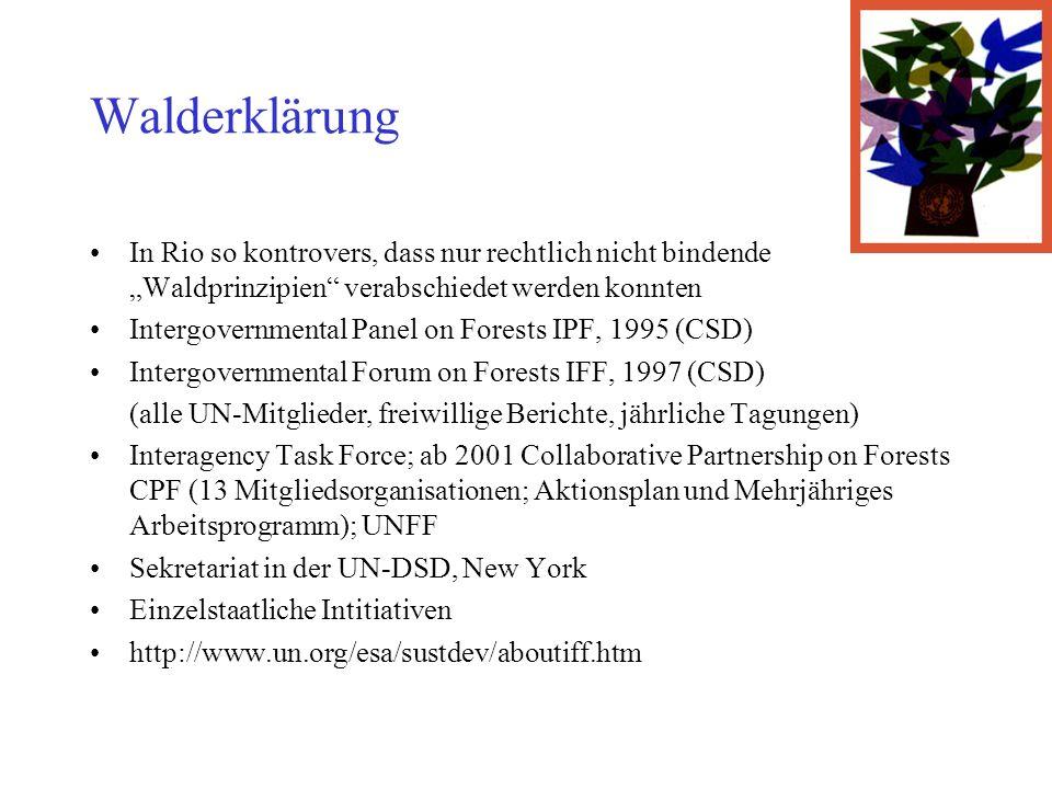 Walderklärung In Rio so kontrovers, dass nur rechtlich nicht bindende Waldprinzipien verabschiedet werden konnten Intergovernmental Panel on Forests IPF, 1995 (CSD) Intergovernmental Forum on Forests IFF, 1997 (CSD) (alle UN-Mitglieder, freiwillige Berichte, jährliche Tagungen) Interagency Task Force; ab 2001 Collaborative Partnership on Forests CPF (13 Mitgliedsorganisationen; Aktionsplan und Mehrjähriges Arbeitsprogramm); UNFF Sekretariat in der UN-DSD, New York Einzelstaatliche Intitiativen http://www.un.org/esa/sustdev/aboutiff.htm