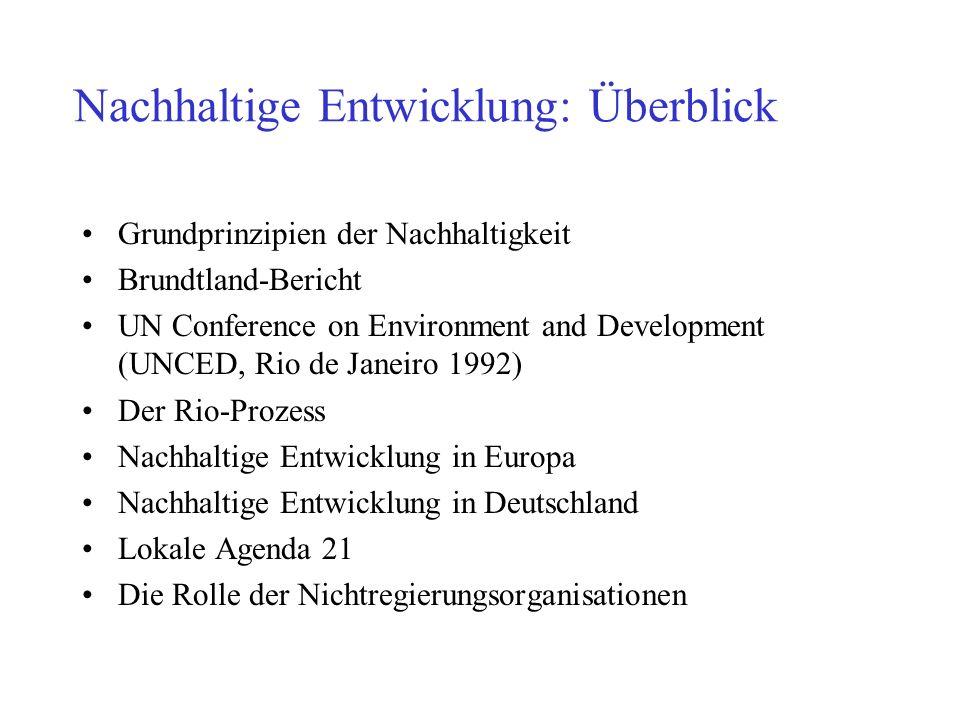 Nachhaltige Entwicklung: Überblick Grundprinzipien der Nachhaltigkeit Brundtland-Bericht UN Conference on Environment and Development (UNCED, Rio de J
