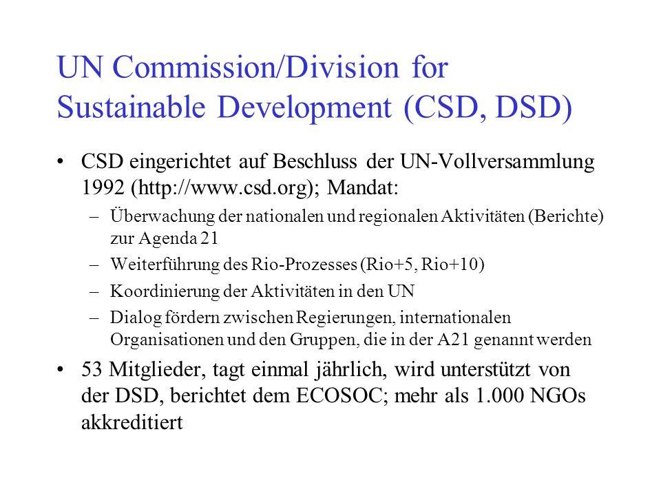 UN Commission/Division for Sustainable Development (CSD, DSD) CSD eingerichtet auf Beschluss der UN-Vollversammlung 1992 (http://www.csd.org); Mandat: –Überwachung der nationalen und regionalen Aktivitäten (Berichte) zur Agenda 21 –Weiterführung des Rio-Prozesses (Rio+5, Rio+10) –Koordinierung der Aktivitäten in den UN –Dialog fördern zwischen Regierungen, internationalen Organisationen und den Gruppen, die in der A21 genannt werden 53 Mitglieder, tagt einmal jährlich, wird unterstützt von der DSD, berichtet dem ECOSOC; mehr als 1.000 NGOs akkreditiert
