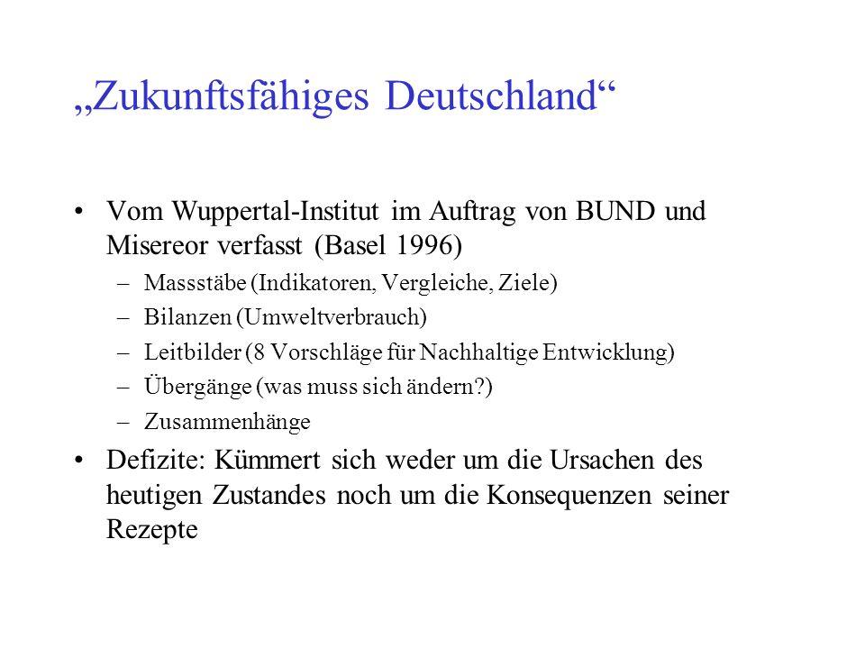 Zukunftsfähiges Deutschland Vom Wuppertal-Institut im Auftrag von BUND und Misereor verfasst (Basel 1996) –Massstäbe (Indikatoren, Vergleiche, Ziele)
