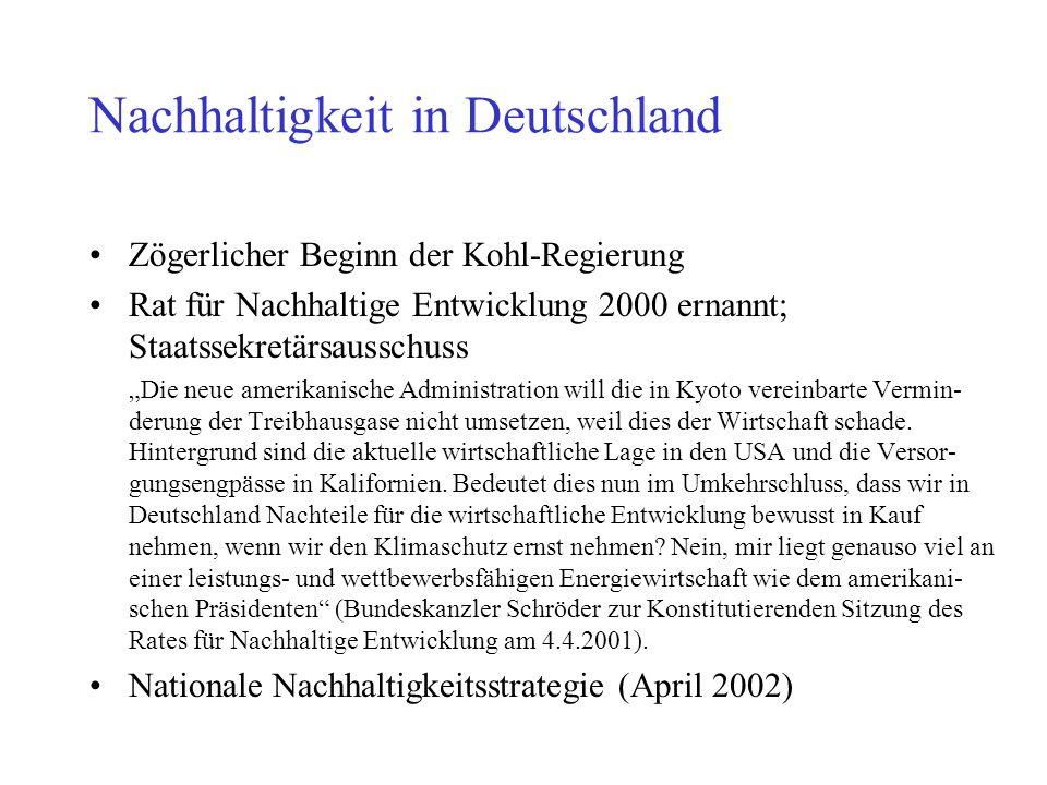 Nachhaltigkeit in Deutschland Zögerlicher Beginn der Kohl-Regierung Rat für Nachhaltige Entwicklung 2000 ernannt; Staatssekretärsausschuss Die neue amerikanische Administration will die in Kyoto vereinbarte Vermin- derung der Treibhausgase nicht umsetzen, weil dies der Wirtschaft schade.