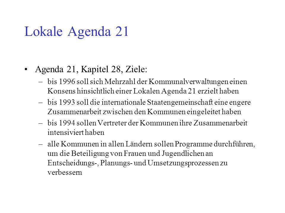 Lokale Agenda 21 Agenda 21, Kapitel 28, Ziele: –bis 1996 soll sich Mehrzahl der Kommunalverwaltungen einen Konsens hinsichtlich einer Lokalen Agenda 2