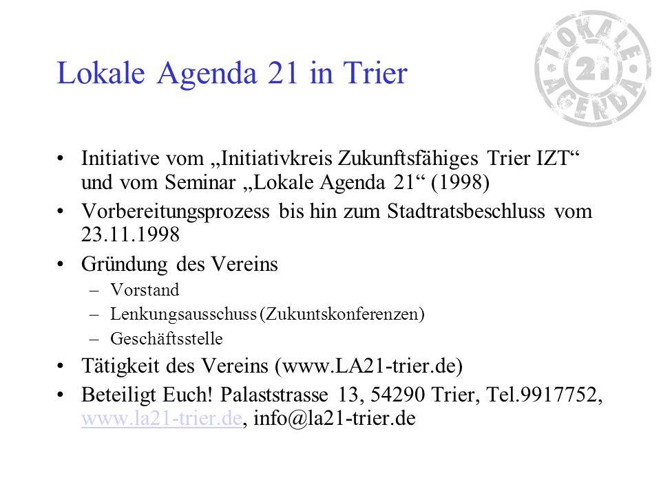 Lokale Agenda 21 in Trier Initiative vom Initiativkreis Zukunftsfähiges Trier IZT und vom Seminar Lokale Agenda 21 (1998) Vorbereitungsprozess bis hin