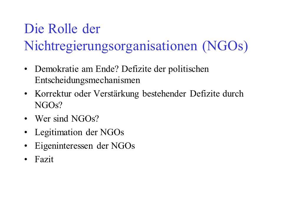 Die Rolle der Nichtregierungsorganisationen (NGOs) Demokratie am Ende? Defizite der politischen Entscheidungsmechanismen Korrektur oder Verstärkung be