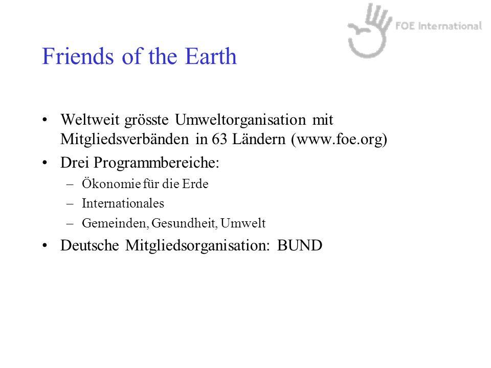Friends of the Earth Weltweit grösste Umweltorganisation mit Mitgliedsverbänden in 63 Ländern (www.foe.org) Drei Programmbereiche: –Ökonomie für die Erde –Internationales –Gemeinden, Gesundheit, Umwelt Deutsche Mitgliedsorganisation: BUND