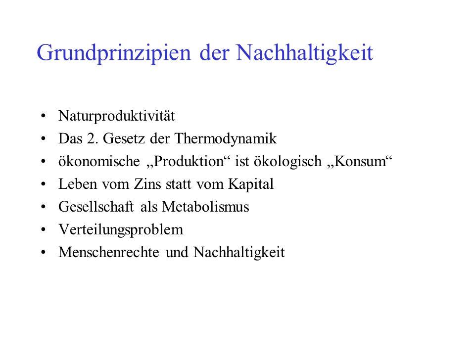 Grundprinzipien der Nachhaltigkeit Naturproduktivität Das 2. Gesetz der Thermodynamik ökonomische Produktion ist ökologisch Konsum Leben vom Zins stat