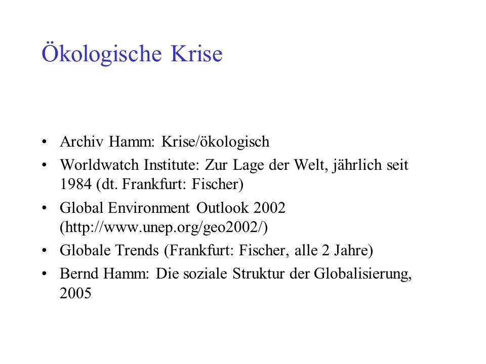 Ökologische Krise Archiv Hamm: Krise/ökologisch Worldwatch Institute: Zur Lage der Welt, jährlich seit 1984 (dt. Frankfurt: Fischer) Global Environmen