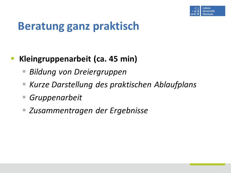 Kleingruppenarbeit (ca. 45 min) Bildung von Dreiergruppen Kurze Darstellung des praktischen Ablaufplans Gruppenarbeit Zusammentragen der Ergebnisse Be