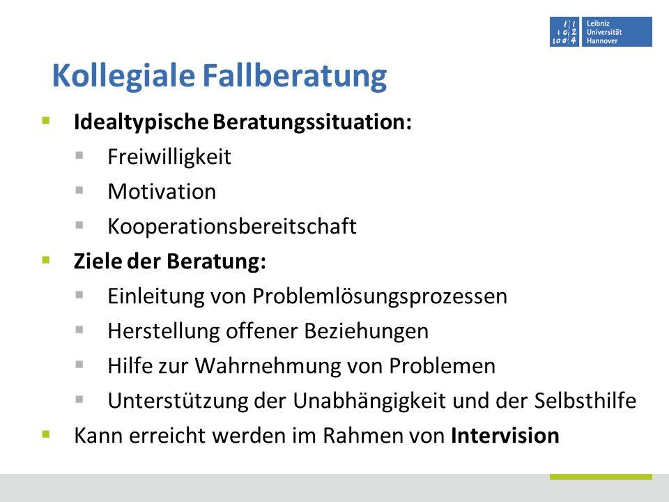 Idealtypische Beratungssituation: Freiwilligkeit Motivation Kooperationsbereitschaft Ziele der Beratung: Einleitung von Problemlösungsprozessen Herste