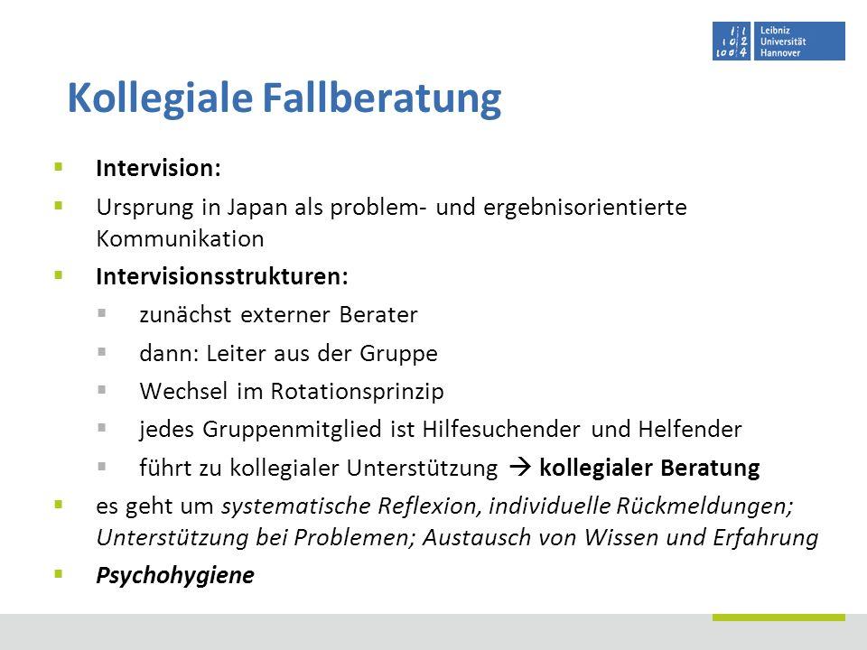 Intervision: Ursprung in Japan als problem- und ergebnisorientierte Kommunikation Intervisionsstrukturen: zunächst externer Berater dann: Leiter aus d