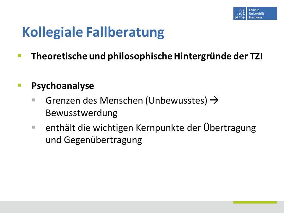 Theoretische und philosophische Hintergründe der TZI Psychoanalyse Grenzen des Menschen (Unbewusstes) Bewusstwerdung enthält die wichtigen Kernpunkte