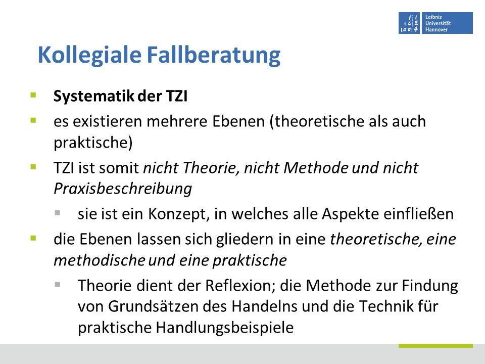 Systematik der TZI es existieren mehrere Ebenen (theoretische als auch praktische) TZI ist somit nicht Theorie, nicht Methode und nicht Praxisbeschrei