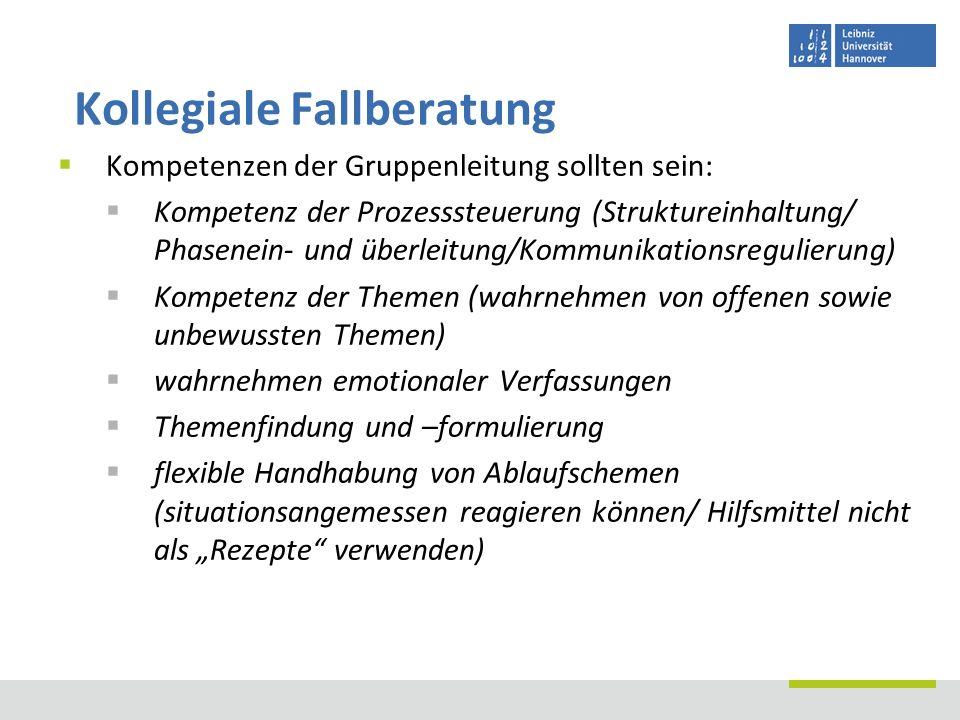 Kompetenzen der Gruppenleitung sollten sein: Kompetenz der Prozesssteuerung (Struktureinhaltung/ Phasenein- und überleitung/Kommunikationsregulierung)