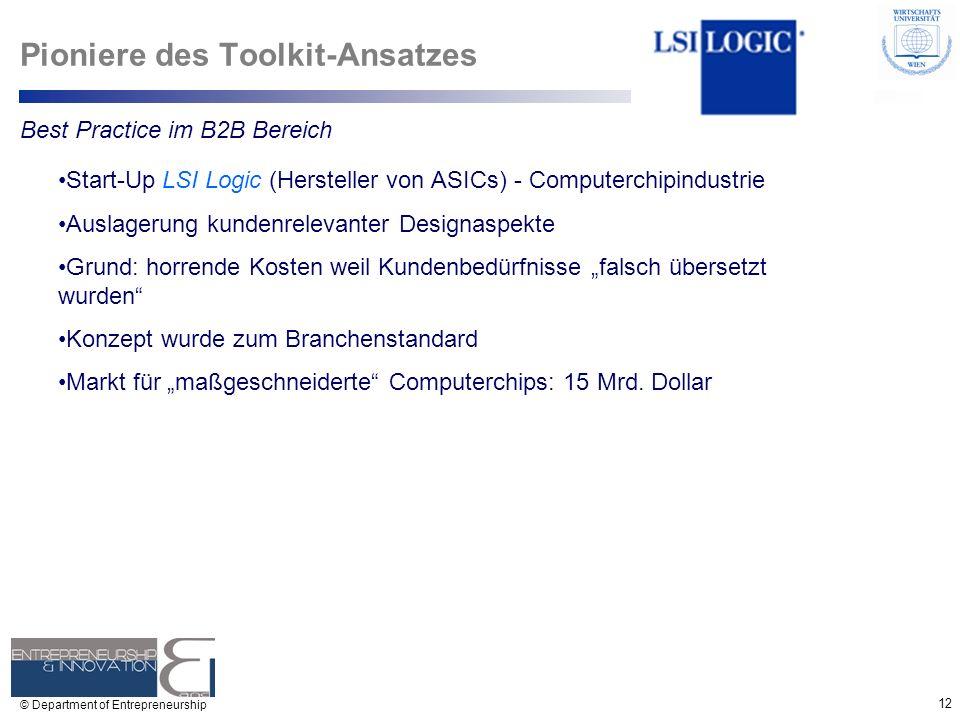 12 © Department of Entrepreneurship Pioniere des Toolkit-Ansatzes Start-Up LSI Logic (Hersteller von ASICs) - Computerchipindustrie Auslagerung kunden
