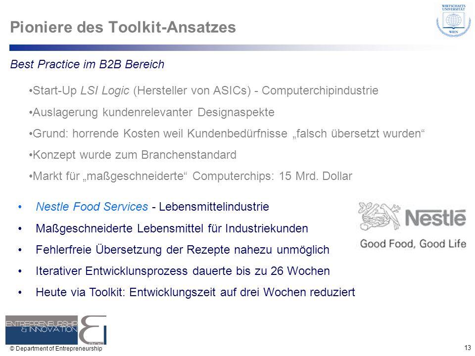 13 © Department of Entrepreneurship Pioniere des Toolkit-Ansatzes Start-Up LSI Logic (Hersteller von ASICs) - Computerchipindustrie Auslagerung kunden