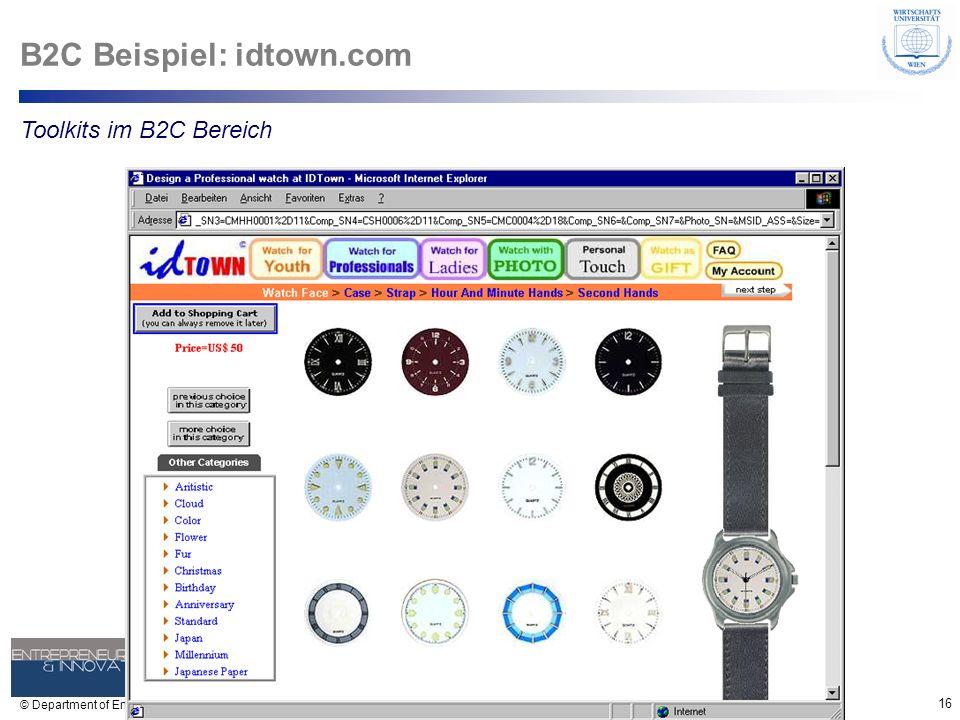 16 © Department of Entrepreneurship B2C Beispiel: idtown.com Toolkits im B2C Bereich