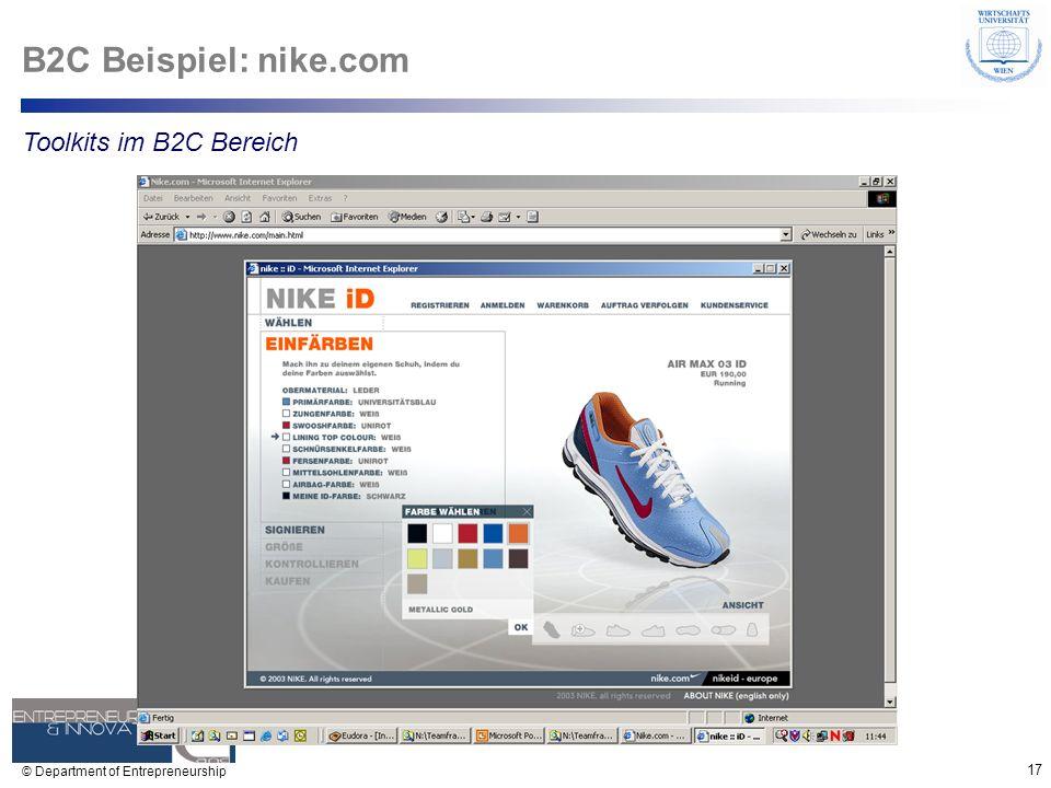 17 © Department of Entrepreneurship B2C Beispiel: nike.com Toolkits im B2C Bereich
