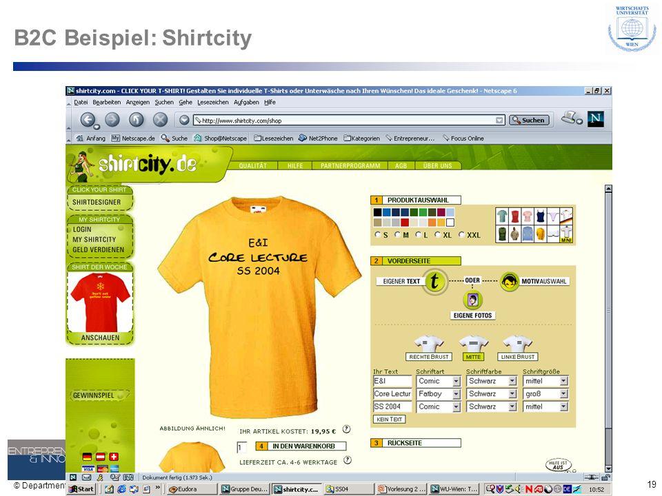 19 © Department of Entrepreneurship B2C Beispiel: Shirtcity