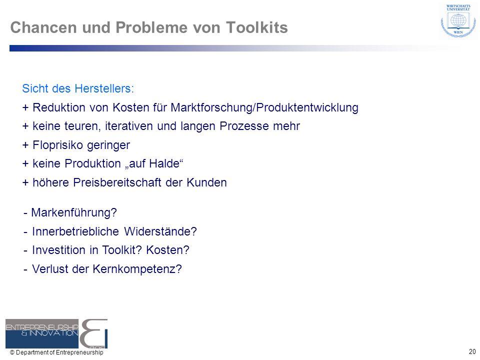20 © Department of Entrepreneurship Chancen und Probleme von Toolkits Sicht des Herstellers: + Reduktion von Kosten für Marktforschung/Produktentwickl