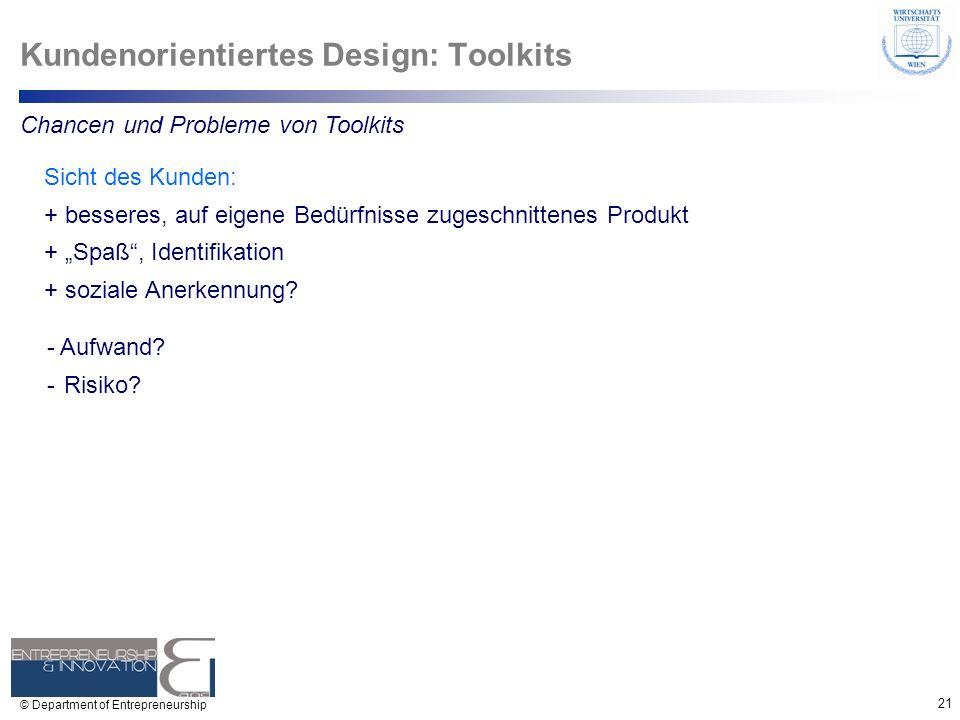 21 © Department of Entrepreneurship Kundenorientiertes Design: Toolkits Chancen und Probleme von Toolkits Sicht des Kunden: + besseres, auf eigene Bed