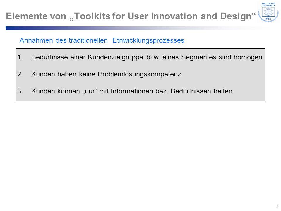 4 © Department of Entrepreneurship Elemente von Toolkits for User Innovation and Design Annahmen des traditionellen Etnwicklungsprozesses 1.Bedürfniss