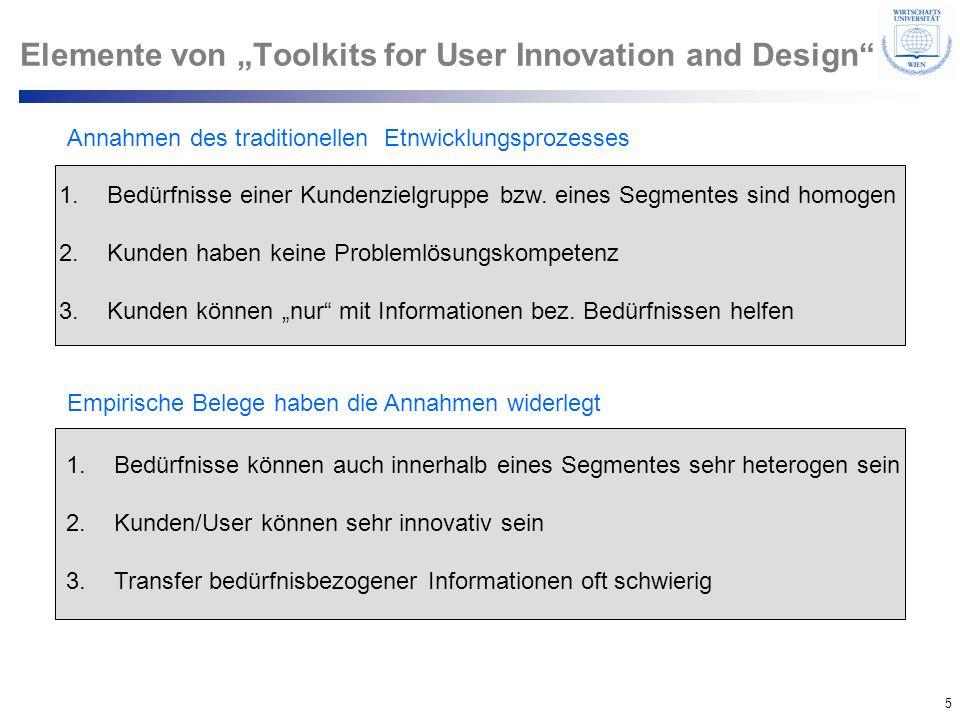 5 © Department of Entrepreneurship Elemente von Toolkits for User Innovation and Design Annahmen des traditionellen Etnwicklungsprozesses 1.Bedürfniss