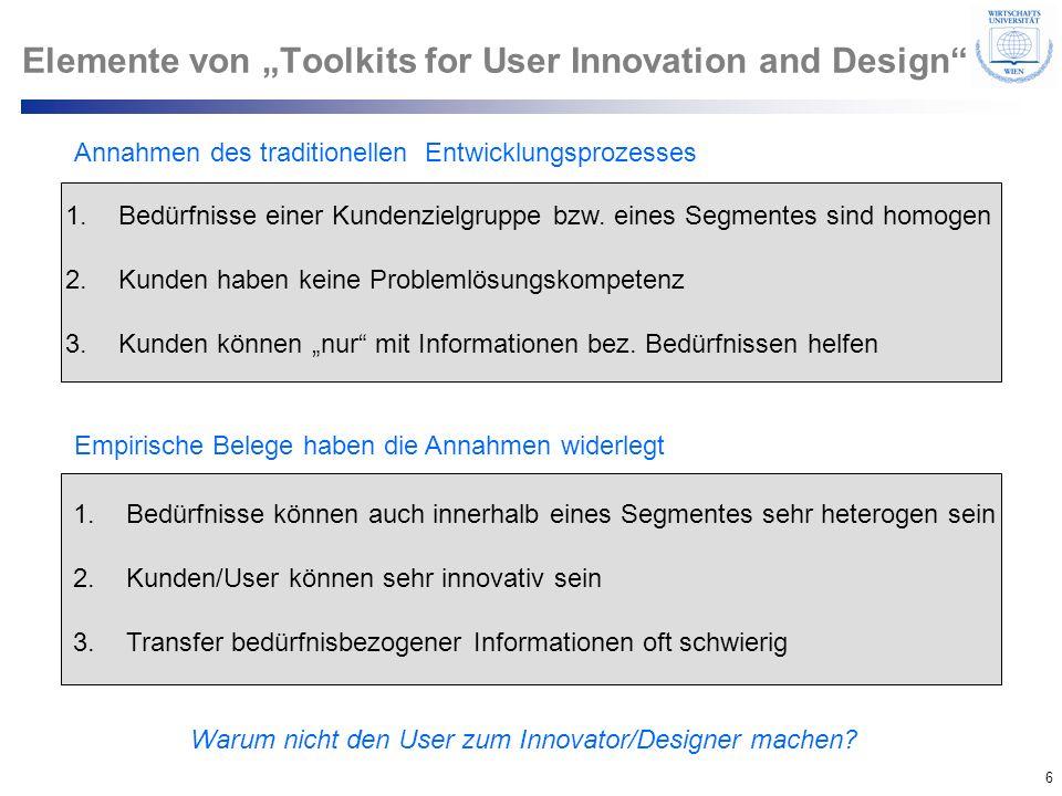 6 © Department of Entrepreneurship Elemente von Toolkits for User Innovation and Design Annahmen des traditionellen Entwicklungsprozesses 1.Bedürfniss